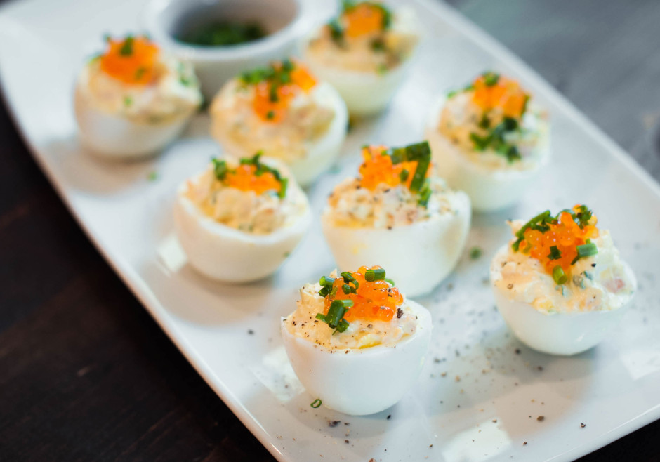 Salmon deviled eggs and this is 40 i got this recipe from the food network it is scrumptious the salmon egg roe on top brought everything together a must try forumfinder Choice Image